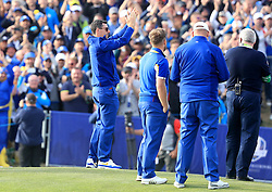 Team Europe's Rory McIlroy celebrates on day three of the Ryder Cup at Le Golf National, Saint-Quentin-en-Yvelines, Paris. PRESS ASSOCIATION Photo. Picture date: Sunday September 30, 2018. See PA story GOLF Ryder. Photo credit should read: Gareth Fuller/PA Wire. RESTRICTIONS: Use subject to restrictions. Written editorial use only. No commercial use.