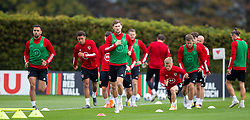 CARDIFF, WALES - Wednesday, September 2, 2020: Wales' Hal Robson-Kanu (L) and Ben Davies during a training session at the Vale Resort ahead of the UEFA Nations League Group Stage League B Group 4 match between Finland and Wales. (Pic by David Rawcliffe/Propaganda)