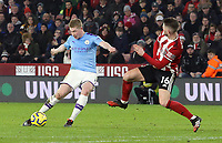 Manchester City's Kevin De Bruyne has his shot charged down by Sheffield United's Oliver Norwood<br /> <br /> Photographer Rich Linley/CameraSport<br /> <br /> The Premier League - Sheffield United v Manchester City - Tuesday 21st January 2020 - Bramall Lane - Sheffield<br /> <br /> World Copyright © 2020 CameraSport. All rights reserved. 43 Linden Ave. Countesthorpe. Leicester. England. LE8 5PG - Tel: +44 (0) 116 277 4147 - admin@camerasport.com - www.camerasport.com