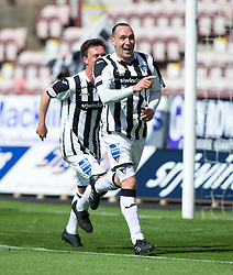 Dunfermline's Michael Moffat celebrates after scoring their third goal.<br /> Dunfermline 7 v 1 Cowdenbeath, SPFL Ladbrokes League Division One game played 15/8/2015 at East End Park.