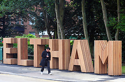 © Licensed to London News Pictures.26/07/2017.Eltham,<br /> UK.<br /> According to Local South East London Newspaper, News Shopper, Greenwich Borough Council have spent £40.000 of Council money on a new six foot high Hollywood style wooden sign at he top of Eltham High Street,Greater London. Local people are not very impressed with the sign with one facebook user calling it a Joke!<br /> Photo credit: Grant Falvey/LNP