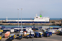 Freight containers and ferry at Rosslare Harbour in Wexford Ireland
