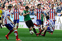 Atletico de Madrid´s Diego Godin and Tiago Cardoso and Athletic Club´s Mikel San Jose during 2014-15 La Liga match between Atletico de Madrid and Athletic Club at Vicente Calderon stadium in Madrid, Spain. May 02, 2015. (ALTERPHOTOS/Luis Fernandez)