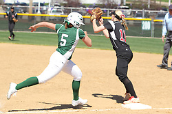 11 April 2015:   Mary Rankin stretches it out trying to get to first before the ball gets to Anna McKee during an NCAA Division III women's softball game between the Washington University Bears and the Illinois Wesleyan Titans in Bloomington IL