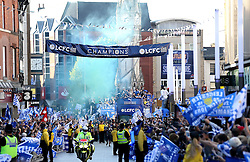 Leicester City are paraded through the city streets after winning The Premier League Title - Mandatory by-line: Robbie Stephenson/JMP - 16/05/2016 - FOOTBALL - Leicester City FC, Barclays Premier League Winners 2016 - Leicester City Victory Parade