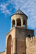 Pictures & images of the gate house and bell tower of the Eastern Orthodox Georgian Svetitskhoveli Cathedral (Cathedral of the Living Pillar) , Mtskheta, Georgia (country). A UNESCO World Heritage Site.<br /> <br /> Currently the second largest church building in Georgia, Svetitskhoveli Cathedral is a masterpiece of Early Medieval architecture completed in 1029 by Georgian architect Arsukisdze on an earlier site dating back toi the 4th century. .<br /> <br /> Visit our MEDIEVAL PHOTO COLLECTIONS for more   photos  to download or buy as prints https://funkystock.photoshelter.com/gallery-collection/Medieval-Middle-Ages-Historic-Places-Arcaeological-Sites-Pictures-Images-of/C0000B5ZA54_WD0s<br /> <br /> Visit our REPUBLIC of GEORGIA HISTORIC PLACES PHOTO COLLECTIONS for more photos to browse, download or buy as wall art prints https://funkystock.photoshelter.com/gallery-collection/Pictures-Images-of-Georgia-Country-Historic-Landmark-Places-Museum-Antiquities/C0000c1oD9eVkh9c