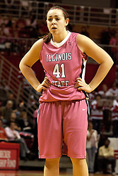 12 February 2012:  Marley Hall during an NCAA women's basketball game Where the Bradley Braves lost to the Illinois Sate Redbirds 82-63.  It was Play 4Kay day in honor of the cancer research fund set up by Coach Kay Yow at Redbird Arena in Normal IL