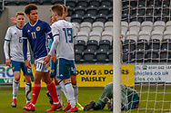 Words exchanged between Scotland's Thomas Dickson-Peters (Norwich City) & Russia's Aleksandr Mukhin following a challenge on the keeper during the U17 European Championships match between Scotland and Russia at Simple Digital Arena, Paisley, Scotland on 23 March 2019.