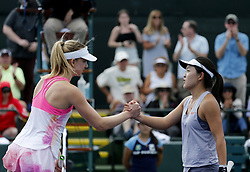 March 7, 2019 - Los Angeles, California, U.S - Mona Barthel, left, of Germany, greets with Lin Zhu of China, after winning the women singles first round match of the BNP Paribas Open tennis tournament on Thursday, March 7, 2019 in Indian Wells, California. Barthel  won 3-1. (Credit Image: © Ringo Chiu/ZUMA Wire)