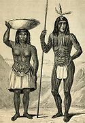 Male and female Mohawk Indians engraving on wood From The human race by Figuier, Louis, (1819-1894) Publication in 1872 Publisher: New York, Appleton