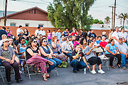 13 MAY 2012 - PHOENIX, AZ: People listen to the Mariachi group Mariachi Rubor at the Puente office in Phoenix, AZ, during the Mothers' Day picnic.      PHOTO BY JACK KURTZ
