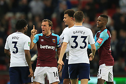 25 October 2017 -  Carabao Cup (4th Round) - Tottenham Hotspur v West Ham United - Mark Noble of West Ham United clashes with Danny Rose of Tottenham Hotspur - Photo: Marc Atkins/Offside