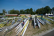 Linz, Austria, Saturday,  24th Aug 2019,, FISA World Rowing Championship, Regatta, General Views, of the boat park and boating pontoons,<br /> <br /> [Mandatory Credit; Peter SPURRIER/Intersport Images]