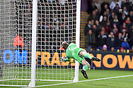 Robert Green, the QPR goalkeeper makes a save from Swansea's Gylfi Sigurdsson's freekick. Barclays Premier league match, Swansea city v Queens Park Rangers at the Liberty stadium in Swansea, South Wales on Tuesday 2nd December 2014<br /> pic by Andrew Orchard, Andrew Orchard sports photography.