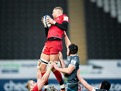 Nick Isiekwe of Saracens claims the lineout<br /> <br /> Photographer Simon King/Replay Images<br /> <br /> European Rugby Champions Cup Round 5 - Ospreys v Saracens - Saturday 11th January 2020 - Liberty Stadium - Swansea<br /> <br /> World Copyright © Replay Images . All rights reserved. info@replayimages.co.uk - http://replayimages.co.uk