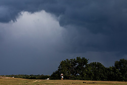 © Licensed to London News Pictures. 24/08/2020. London, UK. As families and walkers enjoy the mild temperatures this afternoon in Richmond Park, dark clouds loom over South West London as forecasters warn that Storm Francis is set to batter the UK later to night with winds in excess of 50mph along with heavy rain. The Met Office has issued a yellow weather warning for high winds for most of the country which could lead to travel disruption and damage to trees. Photo credit: Alex Lentati/LNP