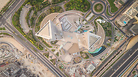 Aerial view of the Emirates Towers rooftop in Dubai, U.A.E.