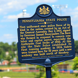 Hershey, PA, USA - June 19, 2013: The Pennsylvania State Police Historic Sign in Hershey, PA