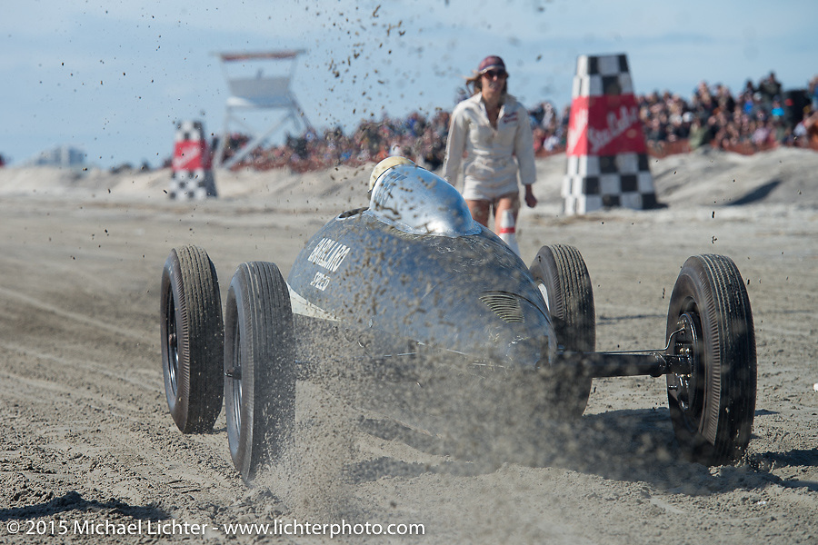 Mike Barillaro rides in the custom body of a royal jet wing tank that was built on a 27 Ford frame at the Race of Gentlemen. Wildwood, NJ, USA. October 10, 2015.  Photography ©2015 Michael Lichter.