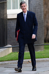 © Licensed to London News Pictures. 25/07/2019. London, UK. Leader of the House of Commons Jacob Rees-Mogg arrives in Downing Street for the first meeting of the new Cabinet. Later today Prime Minister Boris Johnson will speak in the House of Commons.  Photo credit: George Cracknell Wright/LNP