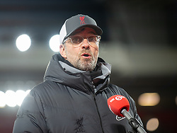 LIVERPOOL, ENGLAND - Thursday, March 4, 2021: Liverpool's manager Jürgen Klopp is interviewed by BBC Radio 5 Live after the FA Premier League match between Liverpool FC and Chelsea FC at Anfield. Chelsea won 1-0 condemning Liverpool to their fifth consecutive home defeat for the first time in the club's history. (Pic by David Rawcliffe/Propaganda)