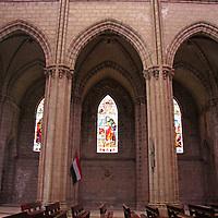 Americas, South America, Ecuador, Quito. Interior nave of the Basilica del Voto Nacional - construction began in 1892 and is still underway.
