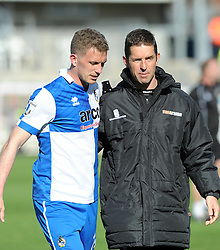 Bristol Rovers' Lee Mansell with Alex Russell - Photo mandatory by-line: Neil Brookman/JMP - Mobile: 07966 386802 - 11/04/2015 - SPORT - Football - Bristol - Memorial Stadium - Bristol Rovers v Southport - Vanarama Football Conference