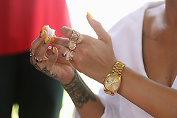 A close up view of Rihanna's hand after having her blood sample taken for an live HIV test, at the 'Man Aware' event held by the Barbados National HIV/AIDS Commission in Bridgetown, Barbados, during his tour of the Caribbean.