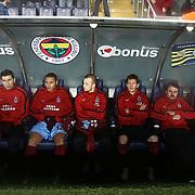 Trabzonspor's players during their Turkish superleague soccer derby match Fenerbahce between Trabzonspor at the Sukru Saracaoglu stadium in Istanbul Turkey on Sunday 18 December 2011. Photo by TURKPIX