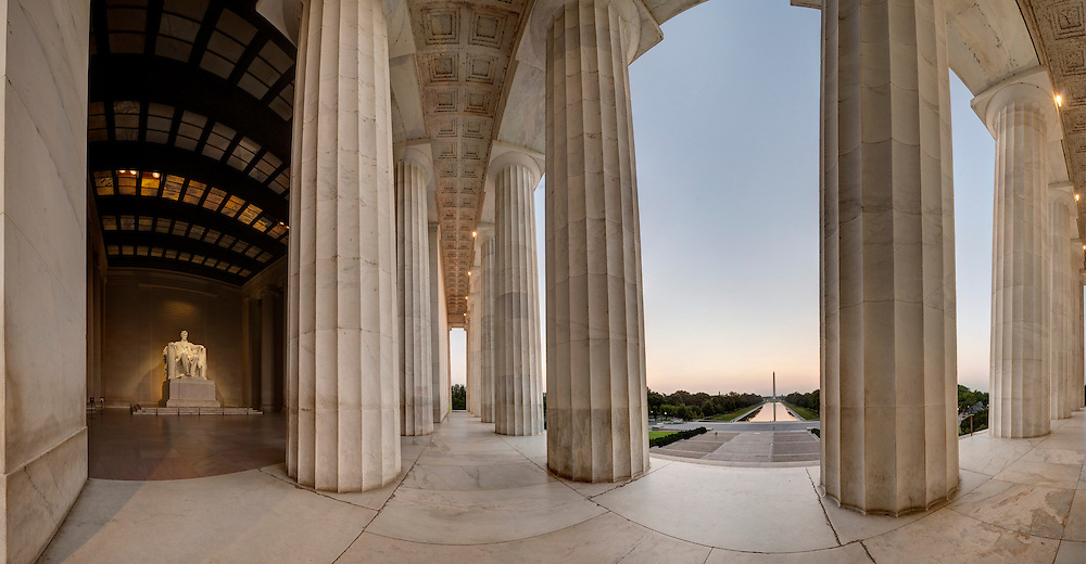 Lincoln Memorial<br /> <br /> Multi-Row Panorama of Lincoln Memorial looking toward the Washington Monument. <br /> Image Captured in 2012.<br /> Print Size (in inches): 15x7.5; 24x12.5; 36x18.5; 48x25; 60x31; 72x37.5