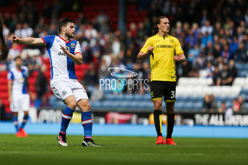 /b32 watches his shot go in off the cross bar to score the first goal of the game to make it 1-0 during the EFL Sky Bet Championship match between Blackburn Rovers and Burton Albion at Ewood Park, Blackburn, England on 20 August 2016. Photo by Simon Brady.