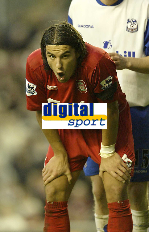 Fotball<br /> Premier Legaue England 2004<br /> 13.11.2004<br /> Foto: SBI/Digitalsport<br /> NORWAY ONLY<br /> <br /> Liverpool v Crystal Palace.<br /> <br /> Liverpool's Milan Baros takes a breather