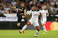 Mousa Dembele of Tottenham Hotspur (r) and Bernardo Silva of AS Monaco compete for the ball. UEFA Champions league match, group E, Tottenham Hotspur v AS Monaco at Wembley Stadium in London on Wednesday 14th September 2016.<br /> pic by John Patrick Fletcher, Andrew Orchard sports photography.