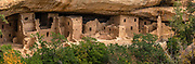 Spruce Tree House, built 1211-1278 CE on Chapin Mesa, Mesa Verde National Park, Colorado, USA. Mesa Verde National Park is a UNESCO World Heritage Site. The park protects some of the best-preserved Ancestral Puebloan archaeological sites in the United States, and was established by Congress and President Theodore Roosevelt in 1906 near the Four Corners region of the American Southwest. Starting around 7500 BCE, Mesa Verde was seasonally inhabited by nomadic Paleo-Indians. Later, Archaic people established semi-permanent rockshelters in and around the mesa. By 1000 BCE, the Basketmaker culture emerged from the local Archaic population, and by 750 CE the Ancestral Puebloans had developed from the Basketmaker culture. The Mesa Verdeans survived using a combination of hunting, gathering, and subsistence farming of crops such as corn, beans, and squash. They built the mesa's first pueblos sometime after 650, and by the end of the 1100s began building massive cliff dwellings. By 1285, following a period of social and environmental instability driven by a series of severe and prolonged droughts, they abandoned the area and moved south into what is today Arizona and New Mexico. This image was stitched from multiple overlapping photos.