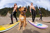 Group of women taking a surf lesson at Oswald West State Park, OR.