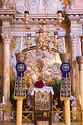 Ornate Greek Orthodox religious icons in church at Paleokastritsa Monastery, 13th Century in Corfu, , Greece