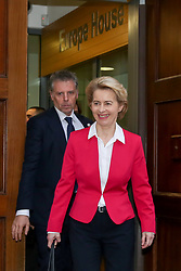 © Licensed to London News Pictures. 08/01/2020. London, UK. President of the European Council URSULA VON DER LEYEN departs from Europe House in Smith Square for Downing Street to meet British Prime Minister BORIS JOHNSON. Photo credit: Dinendra Haria/LNP