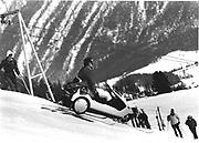 David Kirke going down slope on C5. Dangerous Sports Club ski race. St. Moritz. 1983.<br />© Copyright Photograph by Dafydd Jones<br />66 Stockwell Park Rd. London SW9 0DA<br />Tel 0171 733 0108