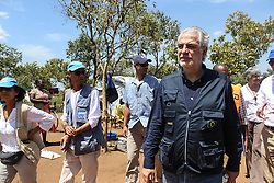 EU Commissioner CHRISTOS STYLIANIDES walks through BidiBidi settlement after he announced €78 million in humanitarian aid to South Sudan after visit to Uganda. During the trip, the Commissioner went to BidiBidi settlement in Northern Uganda, now the third largest refugee settlement in the world. It currently holds more than 210,000 South Sudanese refugees escaping from war, and the ongoing influx of a daily average of 3,000 refugees is causing a strain on humanitarian aid and funding.