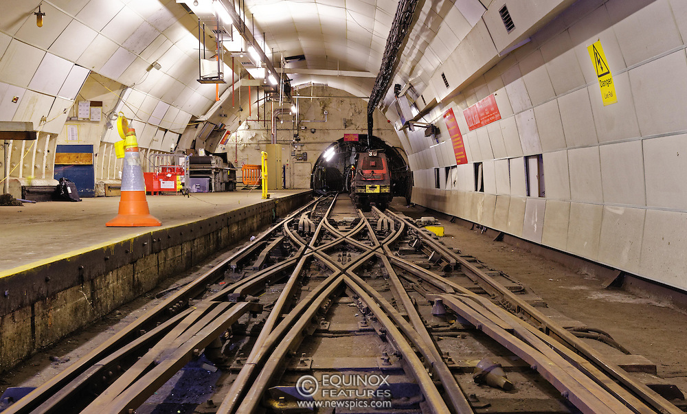 London, United Kingdom - 3 February 2016<br /> PICTURE EXCLUSIVE - The disused Mail Rail underground rail lines and station pictured beneath Mount Pleasant sorting office. Work has commenced on The Postal Museum which will open in 2017 and be located next to Mount Pleasant sorting office in Clerkenwell, London, England, UK. Visitors to the museum will be able to ride on a train on the famous Mail Rail underground rail line. The underground Mail Rail was used for mail distribution to avoid road congestion until 2003 when the lines were closed. Among the supporters of The Postal Museum are Royal Mail, Post Office and the Heritage Lottery Fund.<br /> (photo by: HAUSARTS / EQUINOXFEATURES.COM)<br /> Picture Data:<br /> Photographer: Equinox Features<br /> Copyright: ©2016 Equinox Licensing Ltd. +448700 780000<br /> Contact: Equinox Features<br /> Date Taken: 20160203<br /> Time Taken: 18442681<br /> www.newspics.com