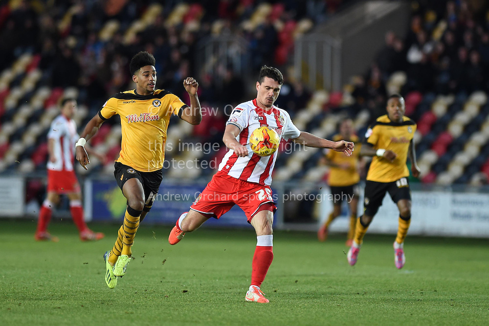 Ronnie Henry © of Stevenage in action. Skybet football league two match, Newport county v Stevenage at Rodney Parade in Newport, South Wales on Saturday 13th December 2014<br /> pic by Andrew Orchard, Andrew Orchard sports photography.