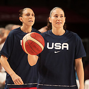 TOKYO, JAPAN August 2:  Sue Bird #6 of the United States and Diana Taurasi #12 of the United States during the team warm up before the France V USA Preliminary Round Group B Basketball Women match at the Saitama Super Arena during the Tokyo 2020 Summer Olympic Games on August 2, 2021 in Tokyo, Japan. (Photo by Tim Clayton/Corbis via Getty Images)