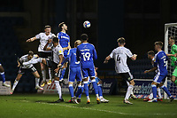 Football - 2020 / 2021 Sky Bet League One - Gillingham vs Accrington Stanley - Priestfield Stadium<br /> <br /> Colby Bishop (Accrington Stanley) heads in the opening goal <br /> <br /> <br /> COLORSPORT/DANIEL BEARHAM