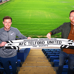 TELFORD COPYRIGHT MIKE SHERIDAN New AFC Telford United signing Jack Byrne with manager Gavin Cowan at the New Bucks Head Stadium on Thursday, June 11, 2020.<br /> <br /> <br /> Picture credit: Mike Sheridan/Ultrapress<br /> <br /> MS202021