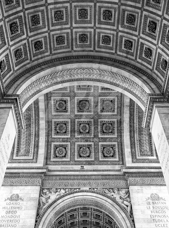 A look from underneath the Arc de Triomphe in Paris, France on May 18, 2012.