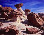 Balanced rocks at The Toadstools, Dakota Formation caprocks protecting pillars of Entrada Formation sandstone, Grand Staircase-Escalante National Monument, Utah.