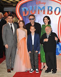"""Stars at at the """"Dumbo"""" European film premiere, Curzon Mayfair, Curzon Street, London, England, UK, on Thursday 21st March 2019. 21 Mar 2019 Pictured: Colin Farrell, Nico Parker, Finley Hobbins, Tim Burton, Eva Green and Danny DeVito. Photo credit: CAN/Capital Pictures / MEGA TheMegaAgency.com +1 888 505 6342"""