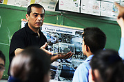 Houssein, working for the Danish NGO Danish Church Aid teaches children about the dangers of cluster bombs.  Here in the school of Akka in Saidon, South Lebanon.