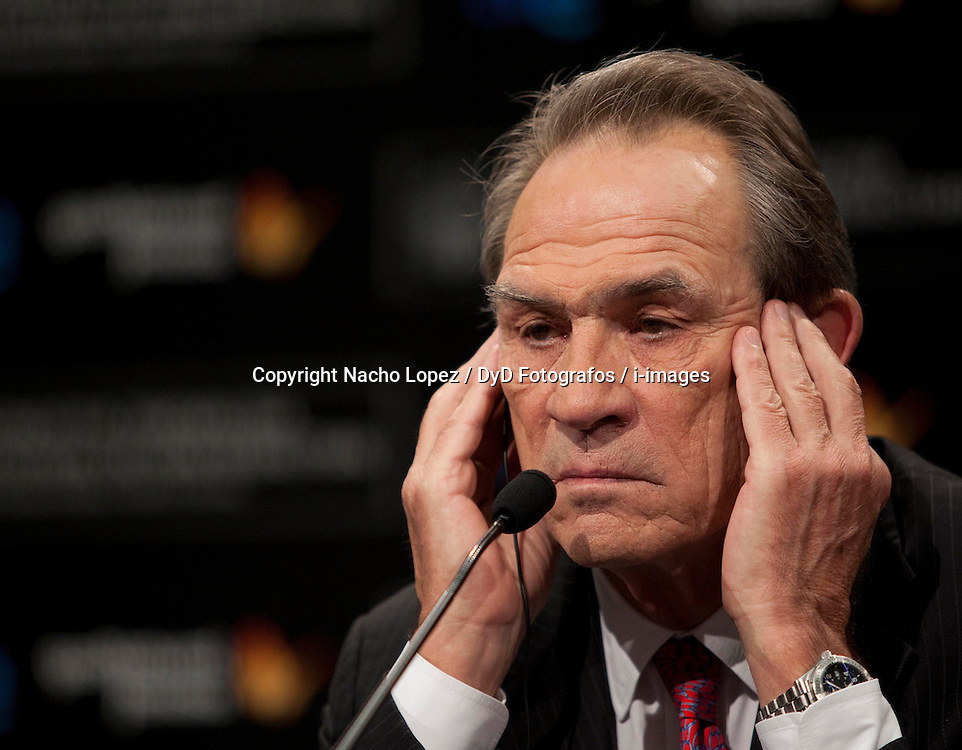 """Tommy Lee Jones at a press conference for his film """"Hope Springs"""", during the 60th International Film Festival of San Sebastian Guipuzcoa, San Sebastian. Spain. September 28, 2012. Photo By Nacho Lopez / DyD Fotografos / i-images. SPAIN OUT"""