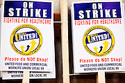 Nov. 11, 2009 -- PHOENIX, AZ: Picket signs ready to be handed out to union members during a meeting of members of the UFCW at the Airport Marriott Hotel in Phoenix. The United Food and Commercial Workers Union (UFCW) Local 99 has about 25,000 members in Arizona: 15,000 in Fry's grocery stores and Fry's Marketplace, 9,500 in Safeway stores and 400 in Smith's grocery stores. The union voted down the last proposal from the stores and has announced plans to go on strike at 6PM on Friday, Nov. 13. The meeting Wednesday is the last one before the strike.   Photo by Jack Kurtz